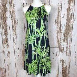 Lilly Pulitzer Silk Palm Tree Chain Halter Dress